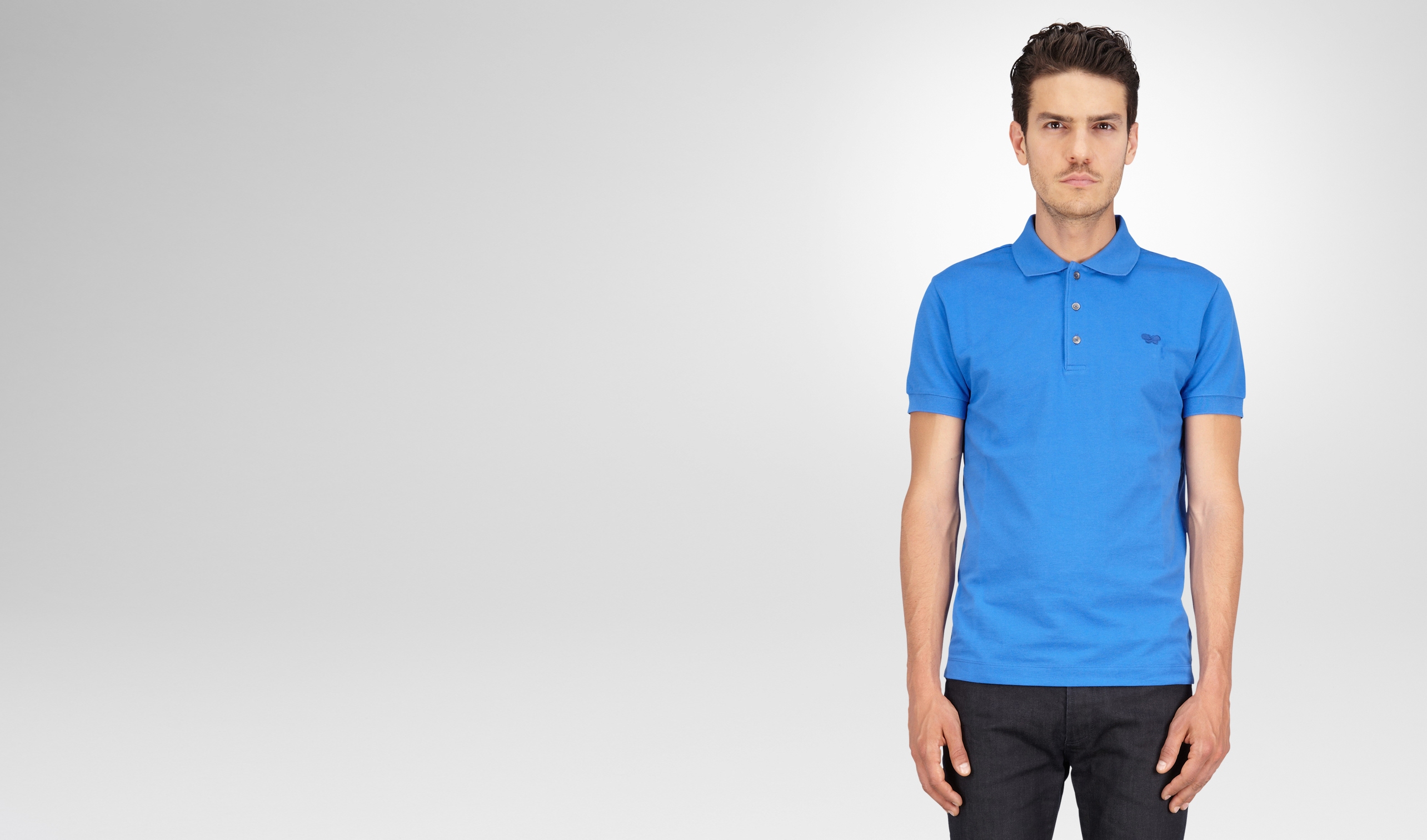 BOTTEGA VENETA Polo And Tee U Signal Blue Solid Piquet Polo pl