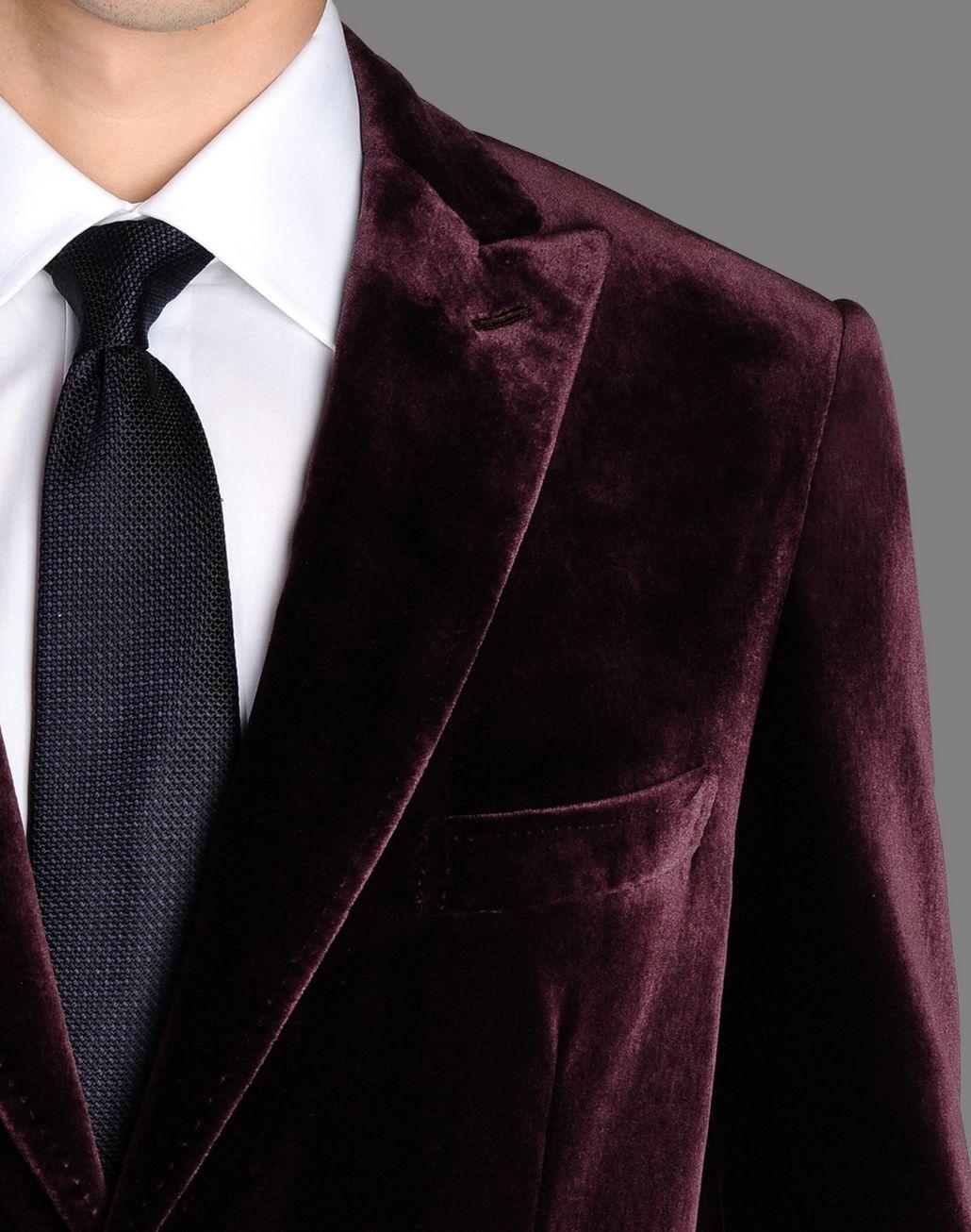 BRIONI burgundy velvet jacket with peaked lapels Suits & Jackets U d