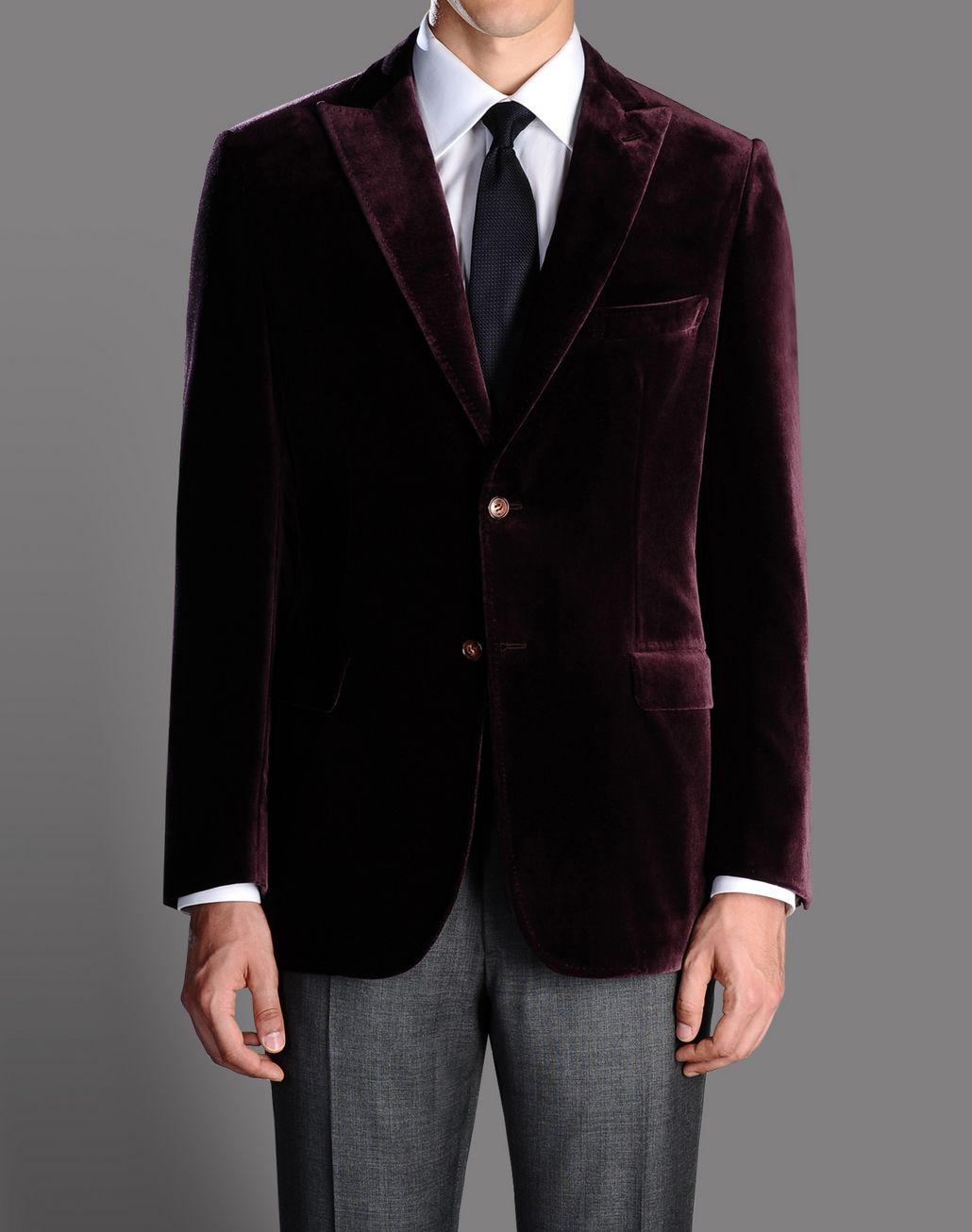 BRIONI burgundy velvet jacket with peaked lapels Suits & Jackets U f