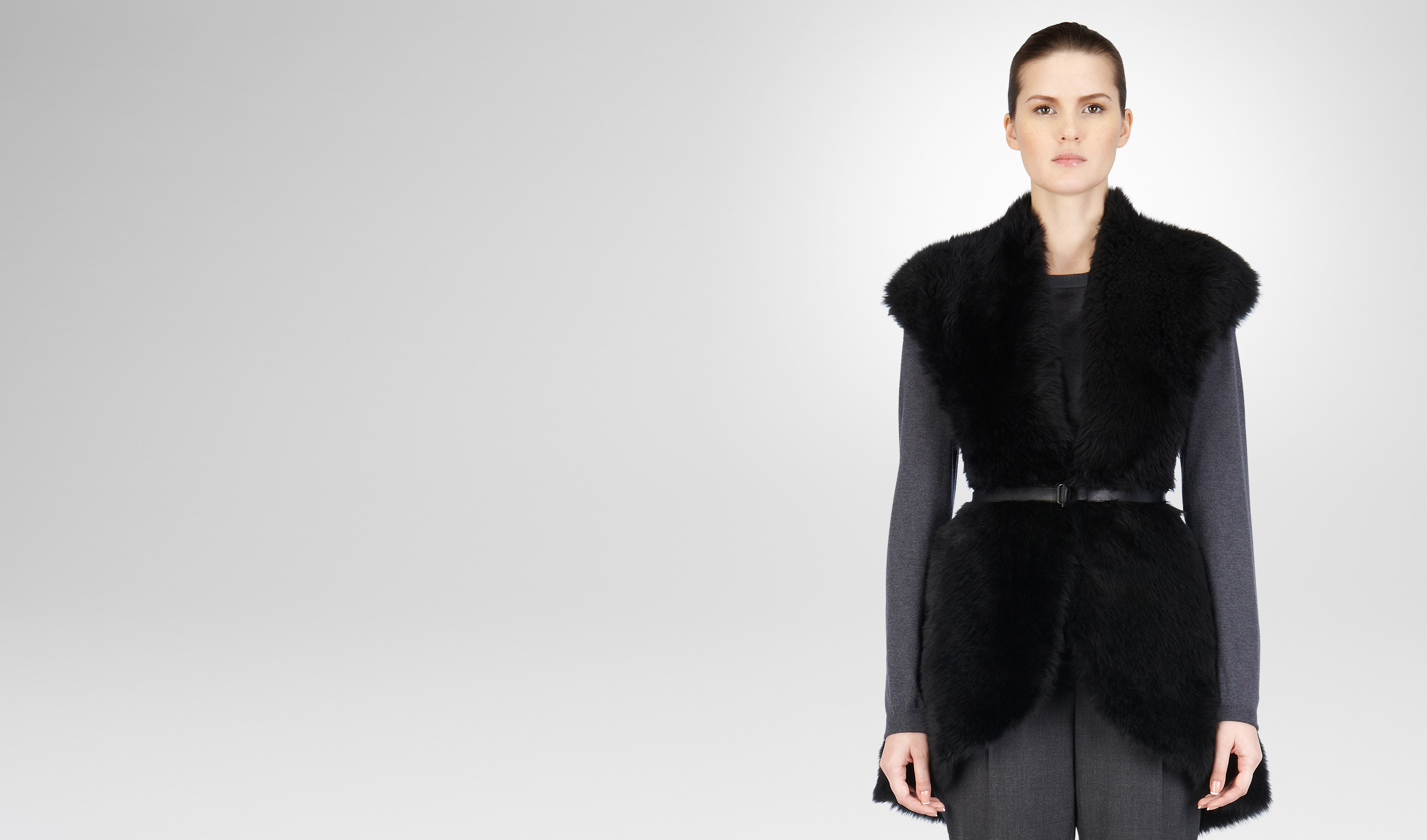 BOTTEGA VENETA Coat or Jacket D NERO LONG HAIR SHEARLING MERINOS VEST  pl