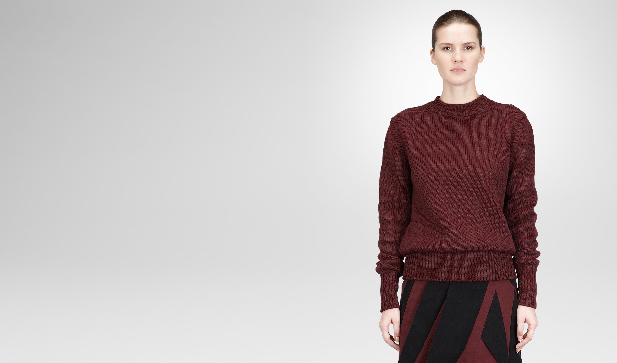 BOTTEGA VENETA Knitwear or Top or Shirt D AUBERGINE DRY WOOL SWEATER pl