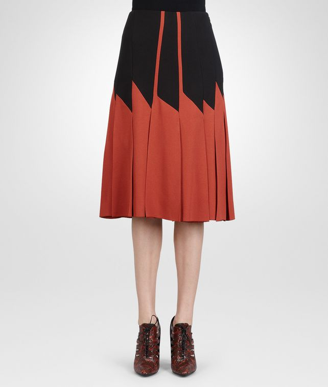 BOTTEGA VENETA BURNT RED NERO CREPE VISCOSE SABLE SKIRT Skirt or trouser D fp