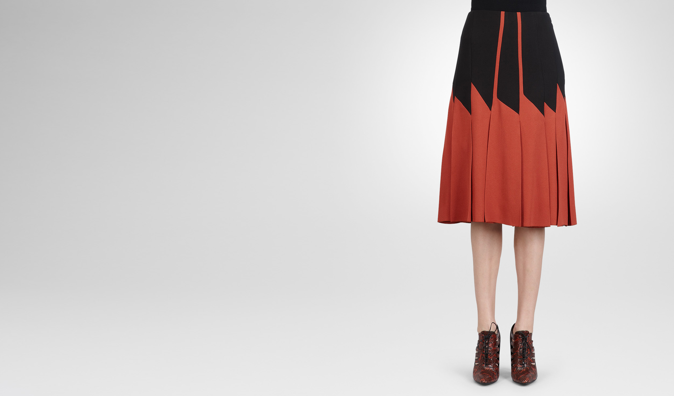 BOTTEGA VENETA Skirt or trouser D BURNT RED NERO CREPE VISCOSE SABLE SKIRT pl