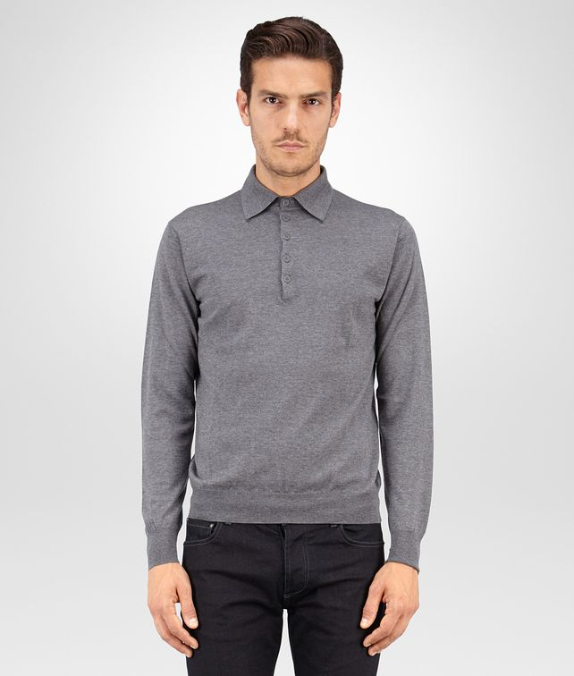 BOTTEGA VENETA SWEATER IN GREY MELANGE MERINOS WOOL Knitwear Man fp