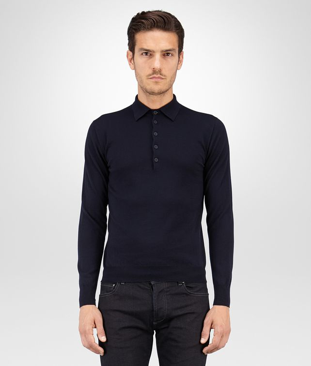 BOTTEGA VENETA SWEATER IN DARK NAVY MERINOS WOOL Knitwear Man fp