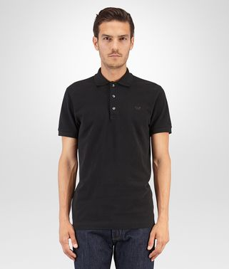 POLO IN NERO PIQUE' COTTON
