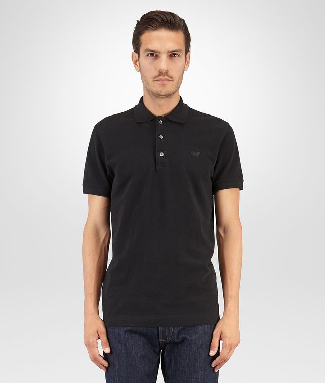 BOTTEGA VENETA POLO IN PIQUE' DI COTONE NERO Polo & T-Shirt Uomo fp