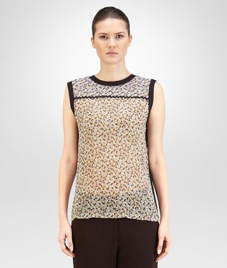 TOP IN MULTICOLOR PRINTED CREPE GEORGETTE AND COTTON JERSEY