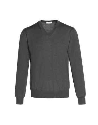 'Essential' Gray V-Neck Sweater