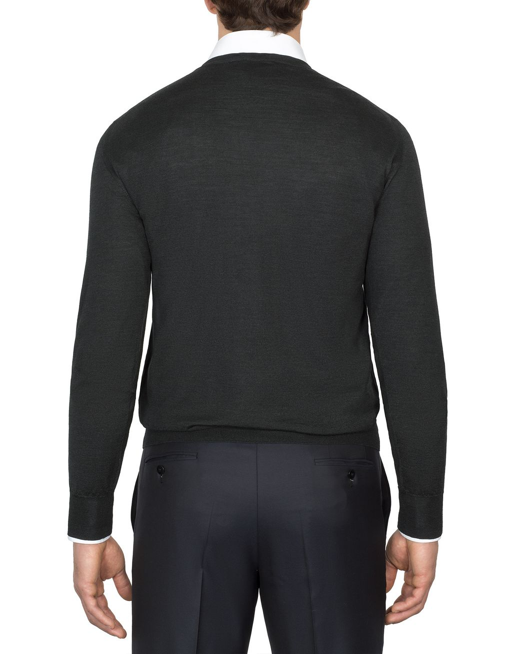 BRIONI Anthracite Grey V-Neck Sweater Knitwear Man d