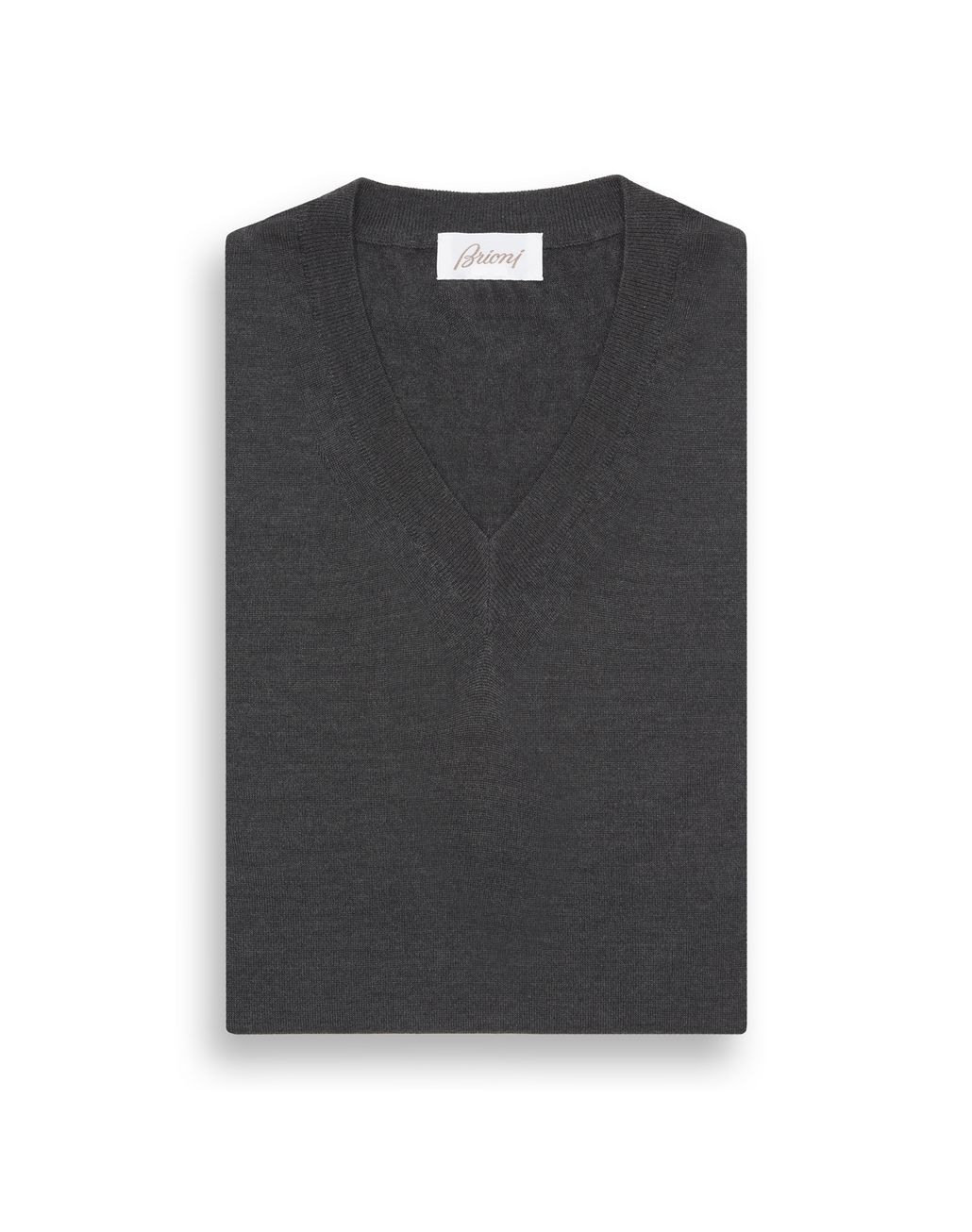 BRIONI Anthracite Grey V-Neck Sweater Knitwear Man e