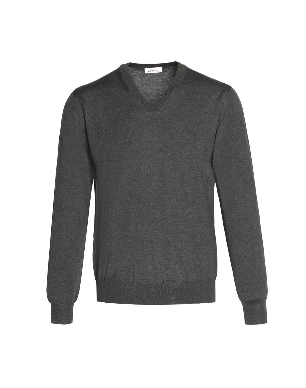 BRIONI Anthracite Grey V-Neck Sweater Knitwear Man f