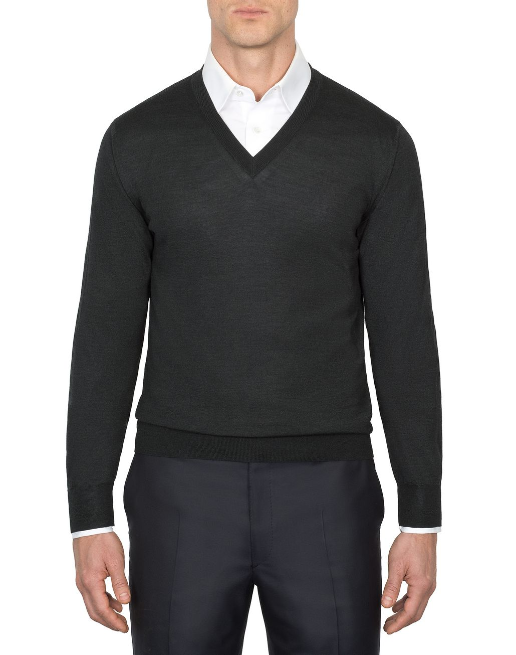 BRIONI Anthracite Gray V-Neck Sweater Knitwear Man r