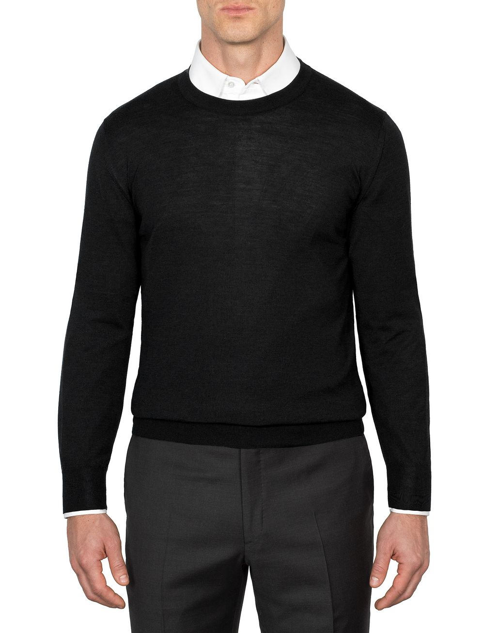 BRIONI Black Crew-Neck Sweater Knitwear U r