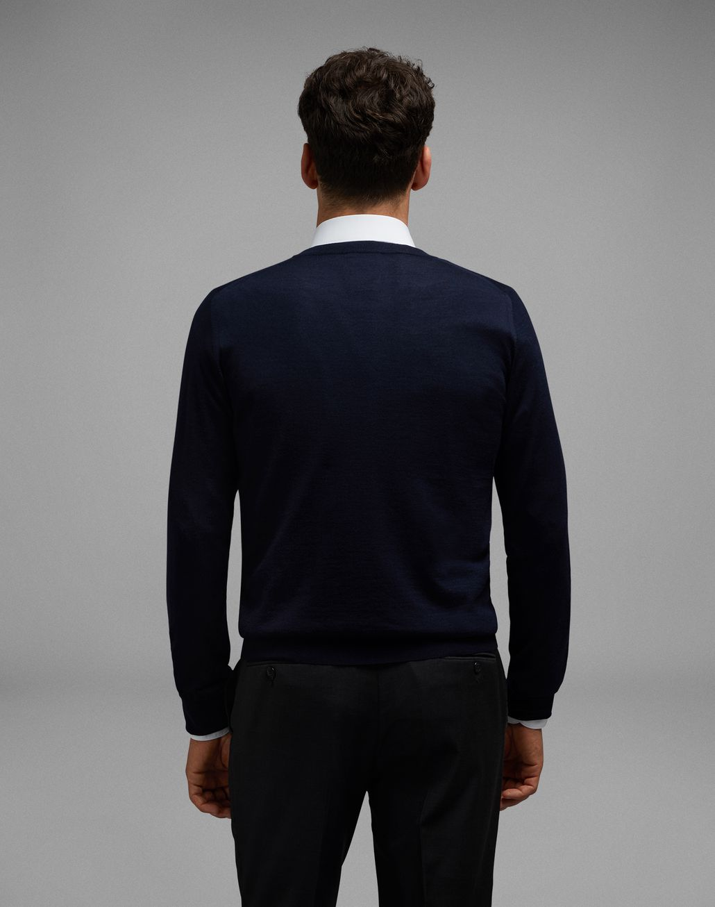 BRIONI Navy Blue Crew-Neck Sweater Knitwear U d