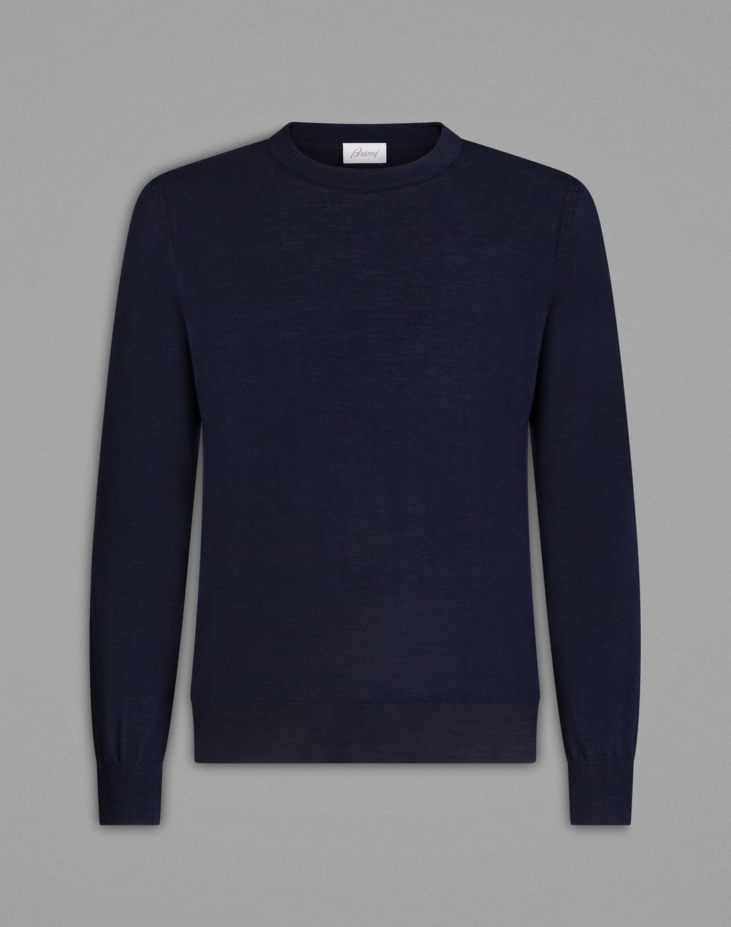 BRIONI Essential' Navy Blue Crew-Neck Sweater Knitwear Man f