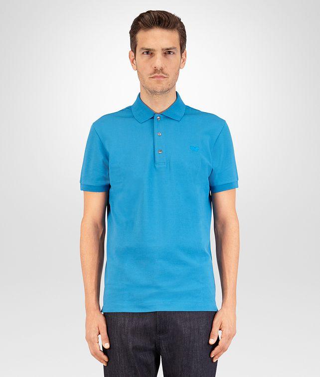 BOTTEGA VENETA POLO IN COTONE PIQUET PEACOCK Polo & T-Shirt U fp