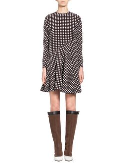 Marni Dress in silk crepe, Squares print Woman