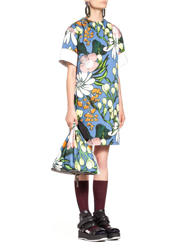 Marni Cotton linen drill dress, Madder print Woman - 5