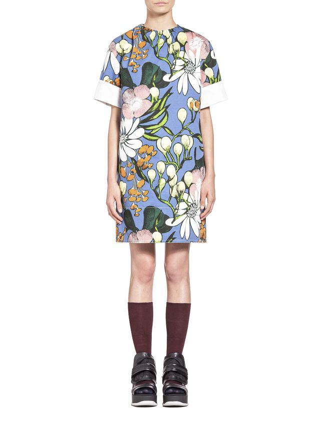 Marni Cotton linen drill dress, Madder print Woman - 1