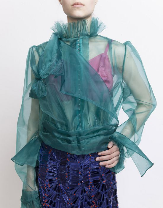 MAISON MARGIELA Look 20: Nylon Organza Blouse Blazer Woman f