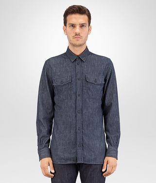 CAMICIA IN DENIM STAMPA LASER DARK NAVY