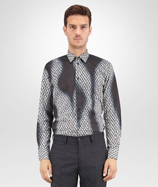 SHIRT IN MULTICOLOR PRINTED COTTON, SPRAY WORKMANSHIP DETAILS