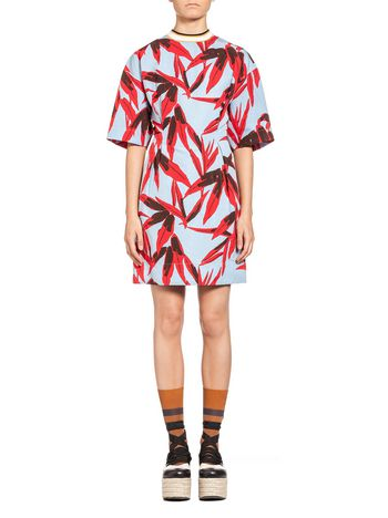 Marni Dress in cotton and linen Swash print Woman