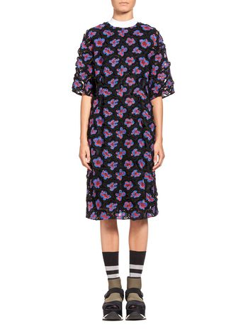 Marni Dress in 3D floral macramé with slip Woman