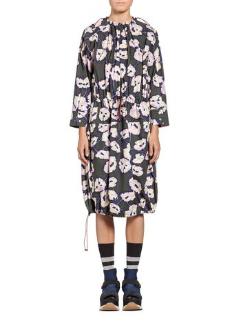 Marni Dress in coated poplin Whisper print Woman