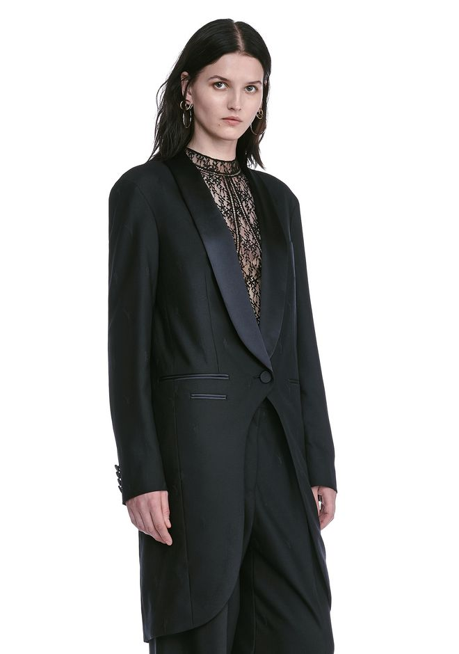 ALEXANDER WANG EXOTIC DANCER ELONGATED SHAWL COLLAR BLAZER  BLAZER Adult 12_n_a