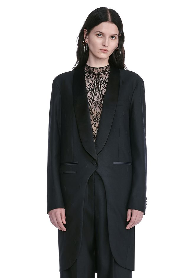 ALEXANDER WANG EXOTIC DANCER ELONGATED SHAWL COLLAR BLAZER  BLAZER Adult 12_n_e