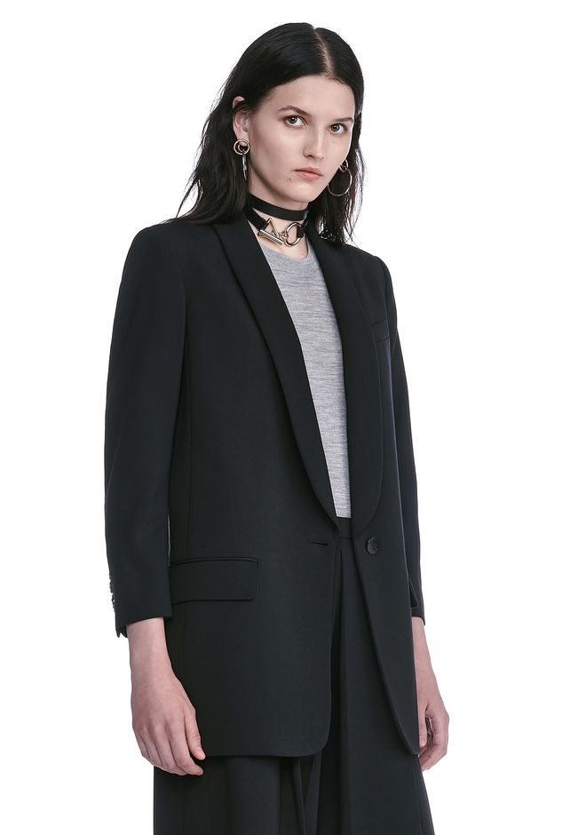 ALEXANDER WANG SINGLE BREASTED SHAWL COLLAR BLAZER BLAZER Adult 12_n_a