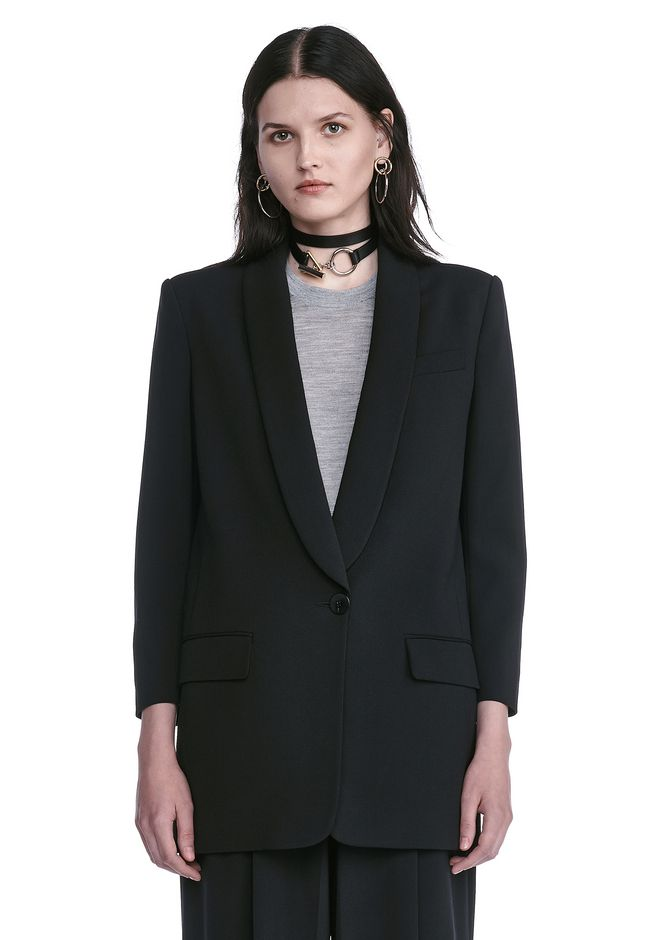 ALEXANDER WANG SINGLE BREASTED SHAWL COLLAR BLAZER BLAZER Adult 12_n_e