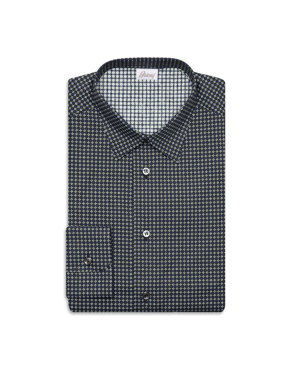 BRIONI Olive and Bluette Micro-Design Shirt Leisure shirt Man f