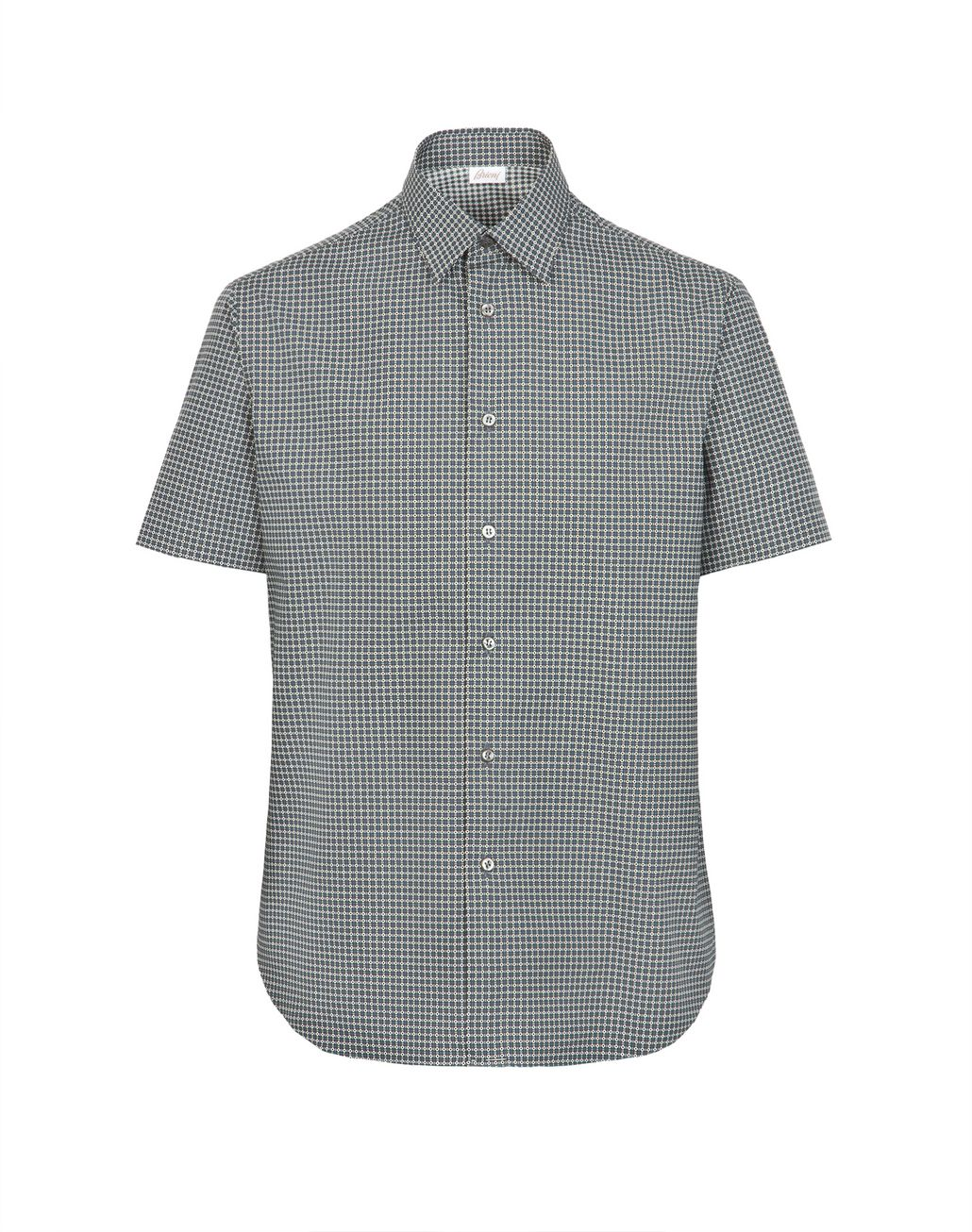 BRIONI Lead and White Short Sleeved Shirt Leisure shirt Man d