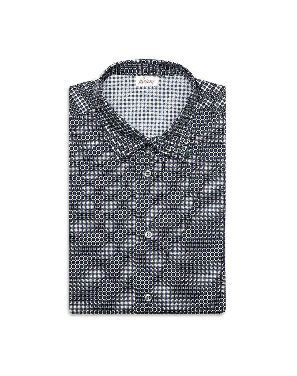 BRIONI Lead and White Short Sleeved Shirt Leisure shirt Man f