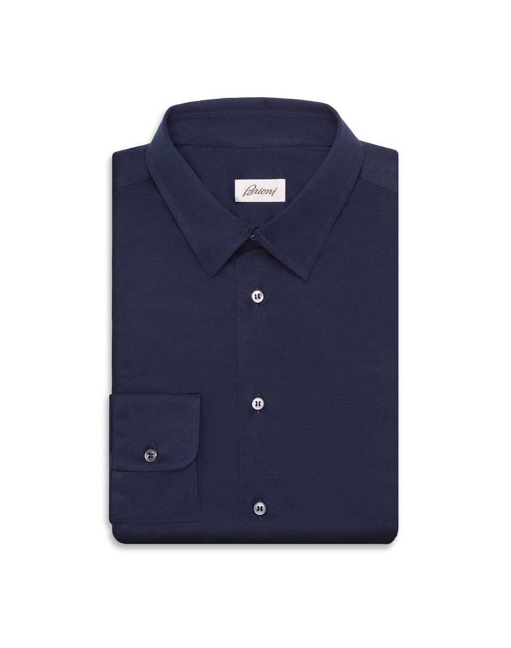 BRIONI Navy Blue Long Sleeved Logoed Jersey Shirt Leisure shirt U f