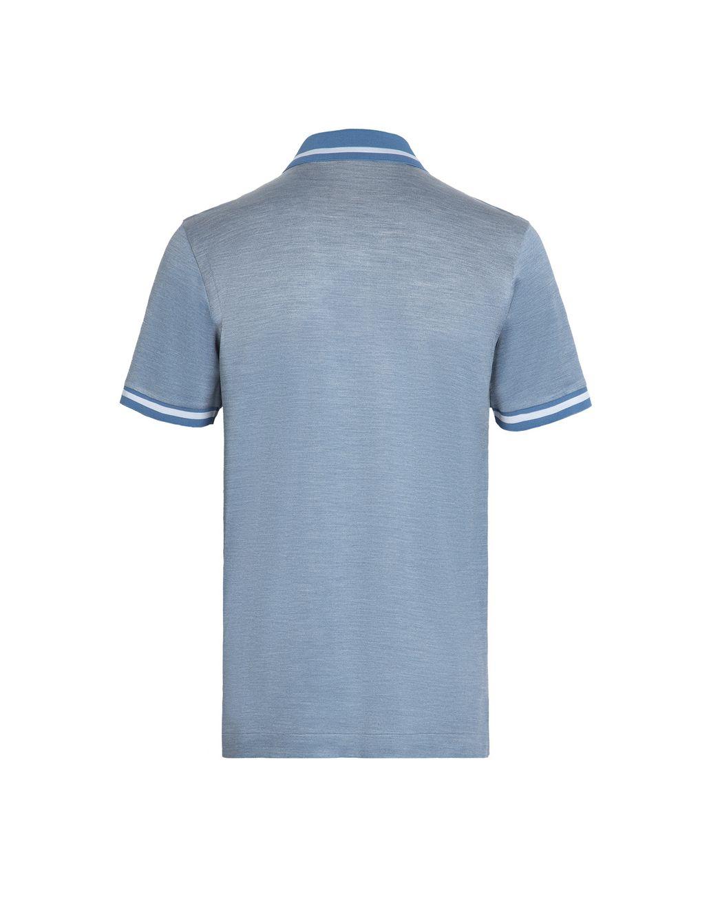 BRIONI Iridescent Sky Blue Polo Shirt T-Shirts & Polos Man d