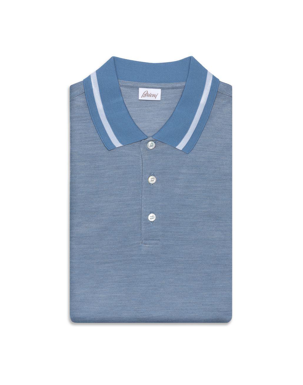 BRIONI Небесно-голубая поло с переливчатым эффектом Футболки и поло Для Мужчин f