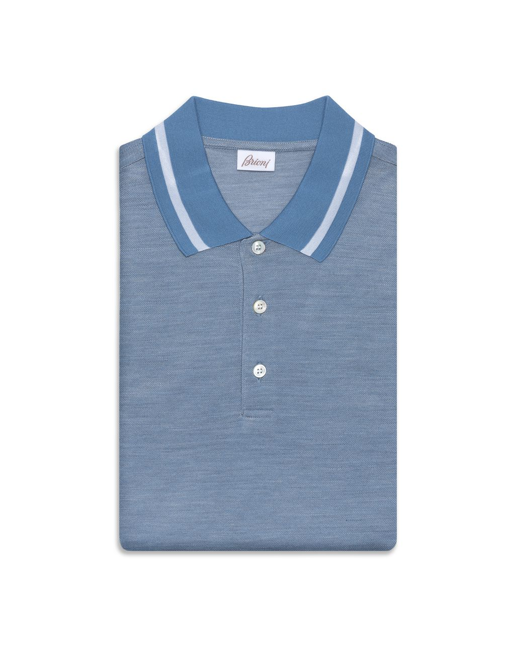 BRIONI Iridescent Sky Blue Polo Shirt T-Shirts & Polos Man f