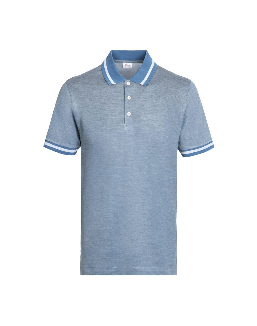 BRIONI Iridescent Sky Blue Polo Shirt T-Shirts & Polos Man r