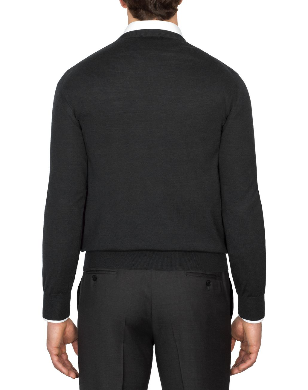 BRIONI Anthracite Gray Crew-Neck Sweater Knitwear Man d
