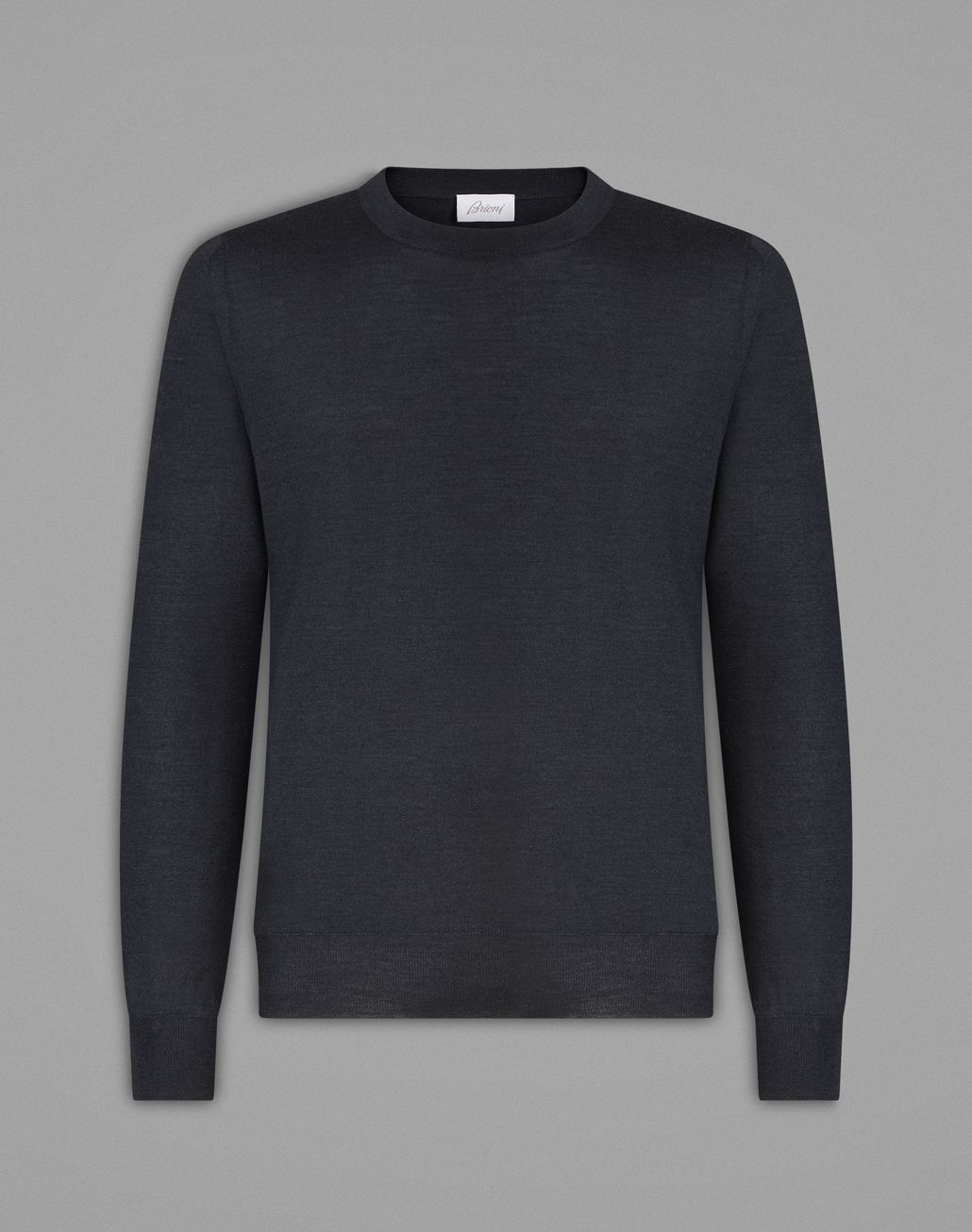 BRIONI Anthracite Gray Crew-Neck Sweater Knitwear Man f