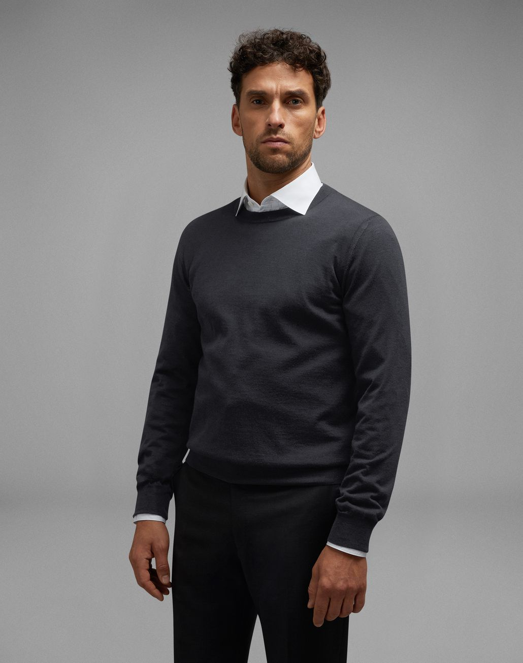 BRIONI Anthracite Gray Crew-Neck Sweater Knitwear Man r
