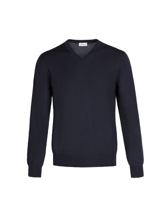 'Essential' Navy Blue V-Neck Sweater