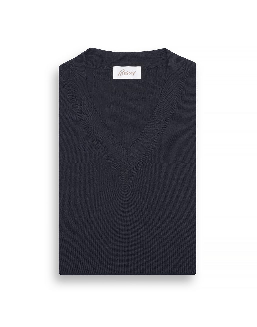 BRIONI Navy Blue V-Neck Sweater Knitwear Man e