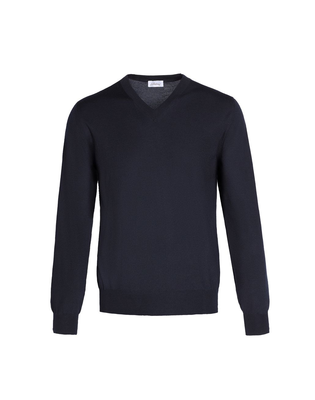 BRIONI Navy Blue V-Neck Sweater Knitwear Man f