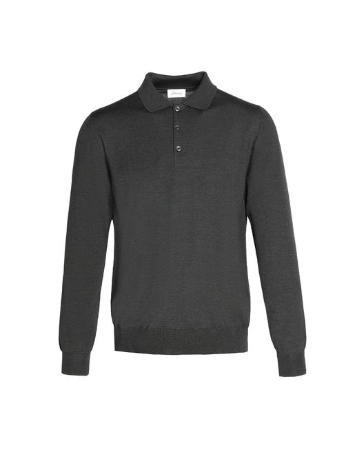 Anthracite Gray Long Sleeved Polo Shirt