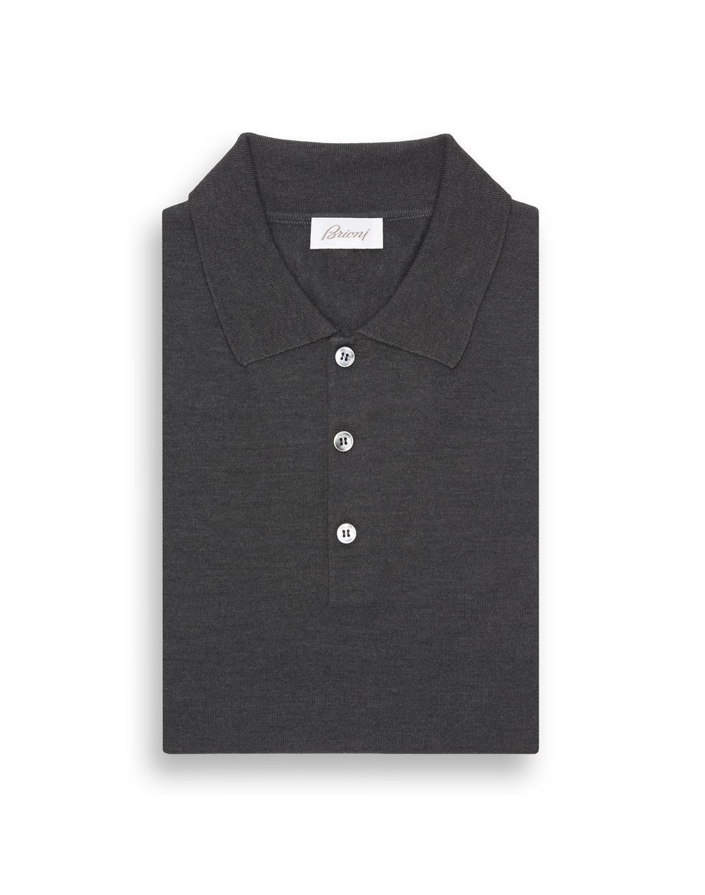BRIONI Anthracite Grey Long Sleeved Polo Shirt T-Shirts & Polos Man e